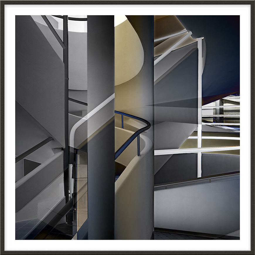 Crossing Stairs, 2009, 180 x 180 cm (71 x 71 inches) [architect: Le Corbusier]